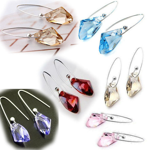 Pair of Love Jewelry Alloy Silver & Austrian Crystal Earring Set for Girls-Color Blue