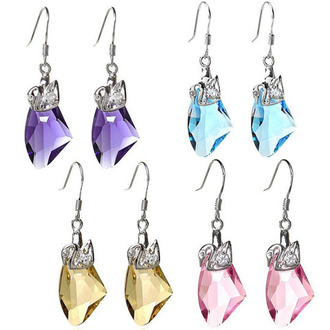 Love Swan Earrings Made of Austrian Imported Silver & Alloy Silver Jewelry-Color Purple
