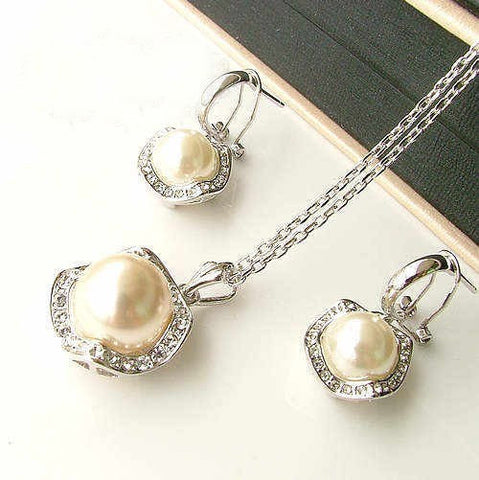 18k Silver Pearl Necklace & Earring Set for Bridesmaid Wedding Jewelry-Earring Style Clip