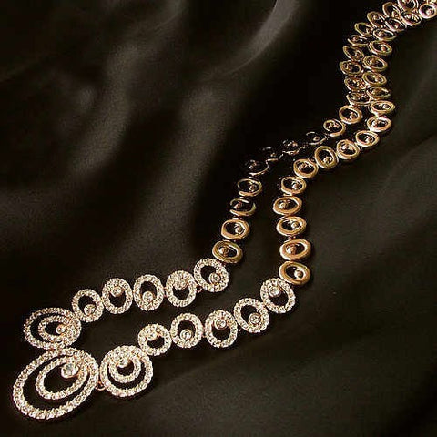Banquet Wedding Dress Chain Gold Necklace With Earrings Jewelry Set-Earring Style Clip