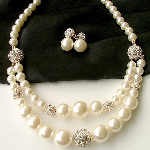 Wedding Dress Pearl Necklace Diamond Gold Necklace With Earrings Jewelry-Earring Style Dangling