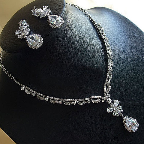 Bridal Gift Jewelry Set Diamond CZ Necklace & Earring Stud for Wedding Gifts