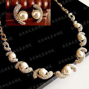 Gold diamond Pearl Necklace & Earring Set for Weddings Brides Jewelry-Earring Style Clip