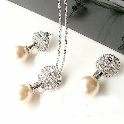 Silver Chain Pearl Necklace & Stud Earring Gift Set for Weddings Bridesmaids