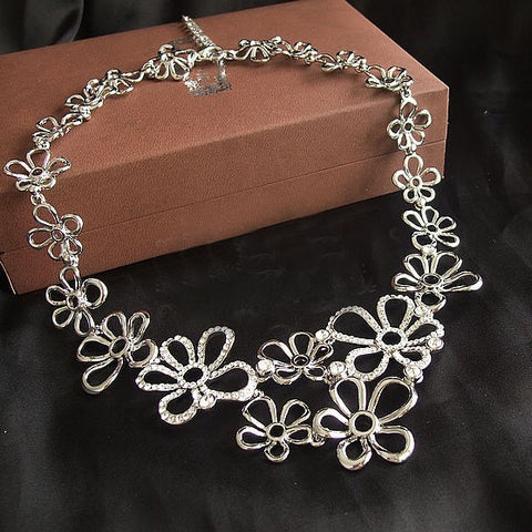 5 Diamond Flower Necklace & Earring Gift Set Weddings Brides-Earring Style Clip