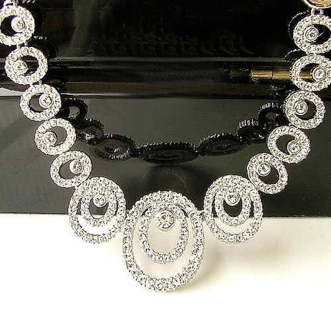 Silver Wedding Dress Necklace & Earring Set With Pierced Ear Option-Earring Style Clip