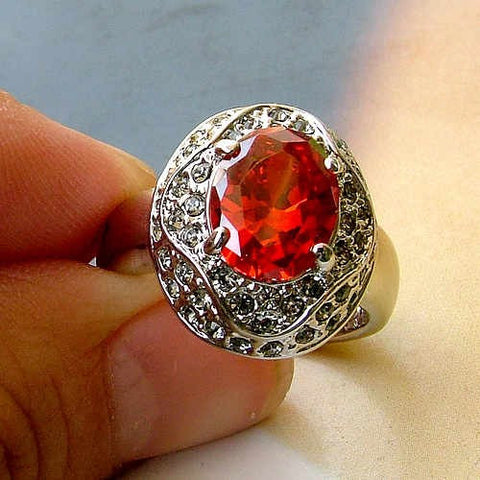 Retro Red Crystal Palace Ring Jewelry for Brides-Size 7
