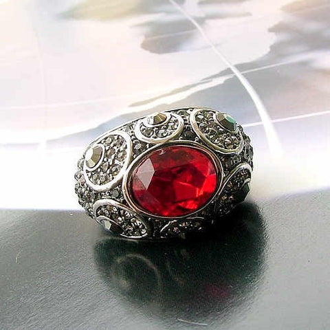 Retro Palace Red Crystal Ring Jewelry for Bridesmaids
