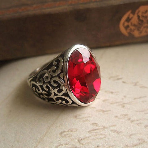 Retro Palace Crystal Ring Red Jewelry for Wedding Banquet