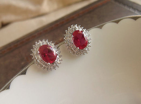 Red Corundum Micro Earring Stud Set for Weddings Brides Maids