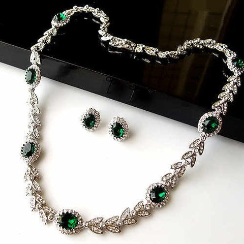 Queling Luxury Palace Green Crystal Necklace & Earring Set for Brides-Earring Style Clip