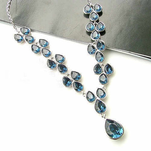 Yula Deep Blue Silver Crystal Necklace & Earring Set for Weddings-Earring Style Stud