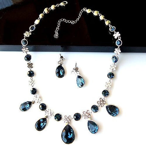 Bluish Sapphire Colored Crystal Earring Necklace Set for Brides Maids-Earring Style Clip