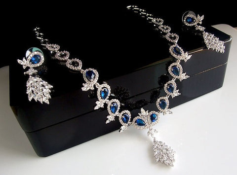 Zircon Diamond Necklace & Earring Set for Brides Wedding Maids-Earring Style Clip