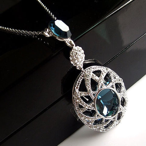 Mexican Styled Silver blue Crystal Pendant Necklace for Weddings