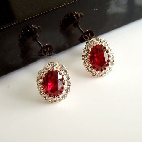 Different Colored Silver Crystal Earring Stud Set for Brides Maids-Color Red