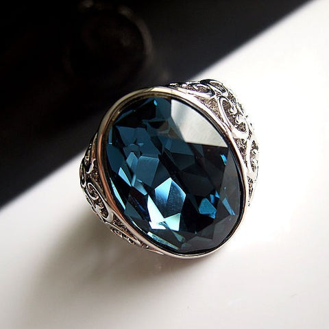 Blue Crystal Retro Royal Rings for Brides Maids-Size 7