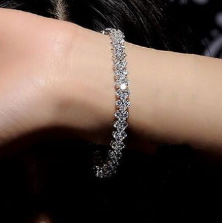 Beautiful Crystal Diamond Zircon Bracelet for Wedding Jewelry Women's Fashion-Length 17cm
