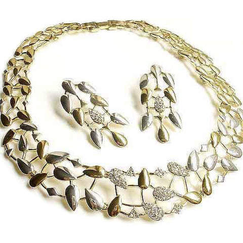 Gold & Silver Necklace for Women's Bridal Jewelry Olive Leaf & Branch Earring Set-Earring Style Clip