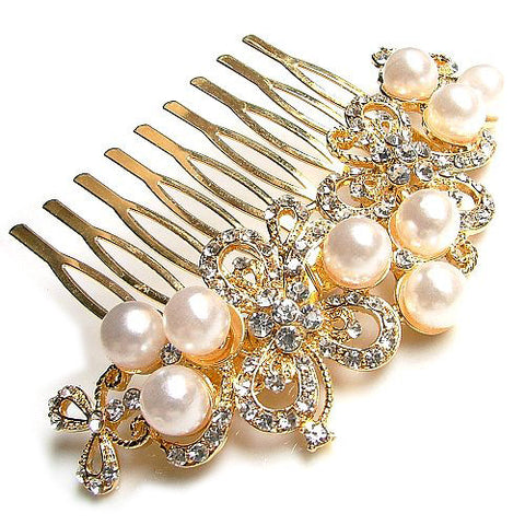 Pearl & Diamond Encrusted Comb Crown Headdress Golden Jewelry for Women's Styles