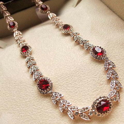 Swarovski Crystal Bridal Necklace Austrian Made Alloy Red Crystal Earring Set-Style Clip