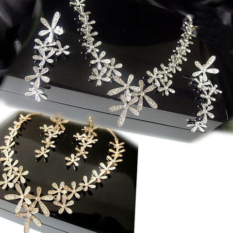 Women's Fashionable & Stylish Rhinestone Necklace & Earring Set (Earring CLIP Styled)-Color Silver