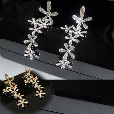 Women's Floral Diamond Earrings STUD Styled Ear Fashion Czech Gemstone Inlaid-Color Silver