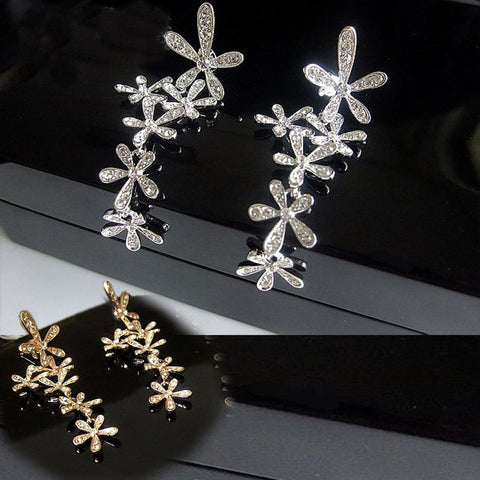 Women's Floral Diamond Earrings CLIP Styled Ear Fashion Czech Gemstone Inlaid-Color Gold