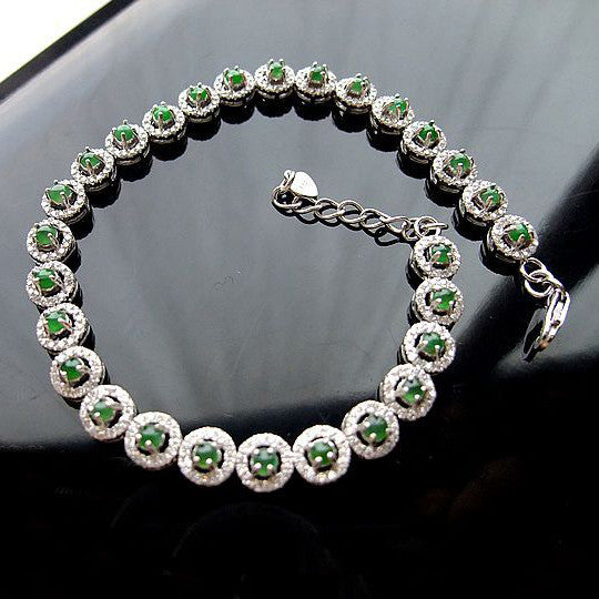 .925 Sterling Silver Jade Inlaid Zircon Gemstone Silver Bracelet for Women's Fashion-Length 16cm