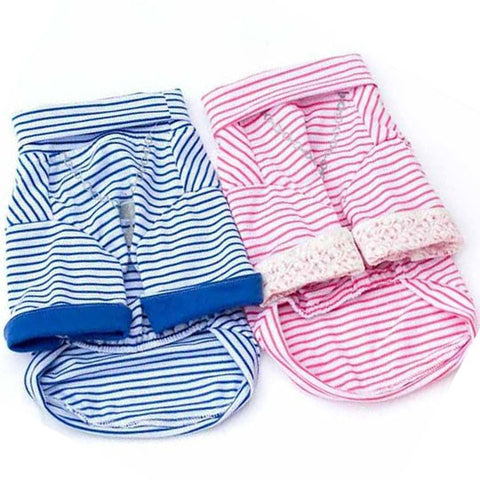 Turtleneck Long Sleeved Striped Shirt for Dog's Clothing
