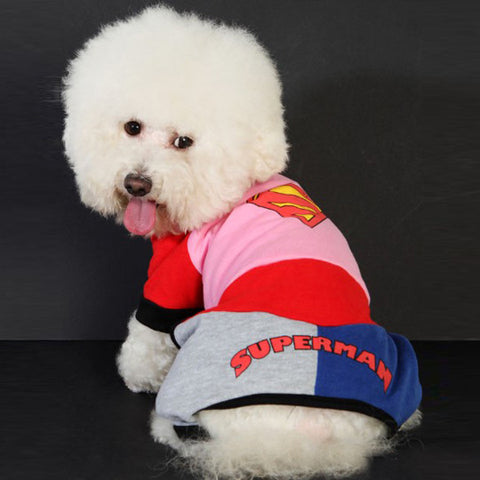 Pet's Pink Colored Superman Outfit Costume for Cute Dog's Clothing