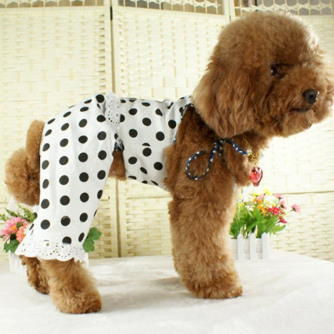 White Colored Shirt With Black Polka Dot Clothing for Dogs & Pet Stores