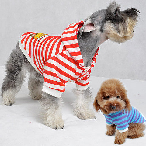 Stripped Hoodie Jacket for Dog's Fashion Ice Cream Design on Back for Pets SMALL-Color Red-White