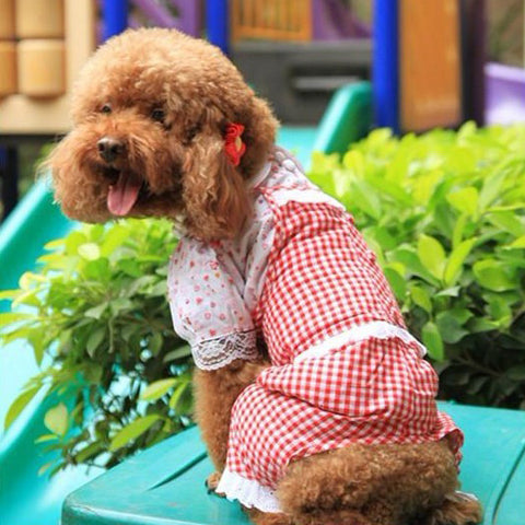 Plaid Overall Shirt & Pant for Dog's Fashion Sense Pet Clothing Store