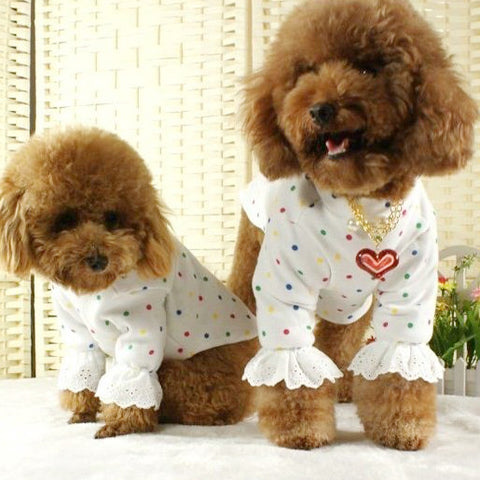 White Long Sleeved Shirt with Color Polka Dots for Pet Fashion Dog Clothing