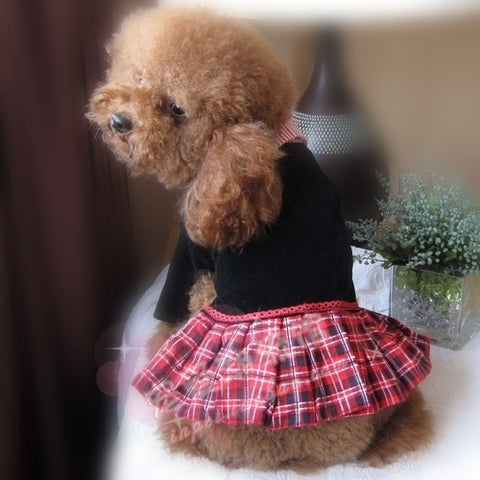 Pet Clothing & Apparel Dogs Costumes British Styled Shirt w/ Plaid Skirt Dog Store