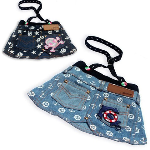 Spring Time Anchor Printed Denim Skirt for Cute Dog Fashion & Pet Clothes