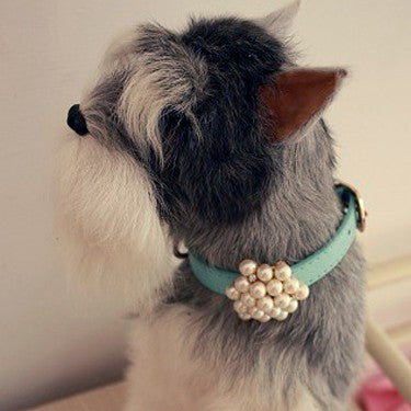 Pearl Beaded Pendant Necklace Collar for Dog Leash & Boutique Pet Jewelry