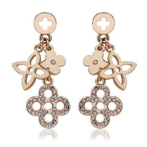 Gold Plated Dangling Pave Clover Earrings