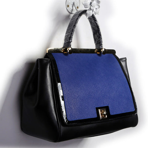 Black and Blue Leather Tote Handbag