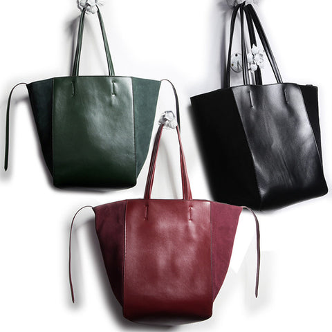 Leather and Velvet Tote Hangbag