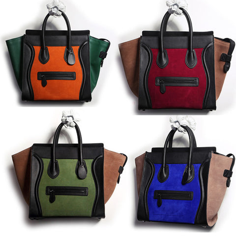 Leather and Velvet Tote Hangba