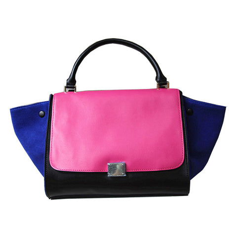 Black, Pink, and Blue Leather Tote Handbag