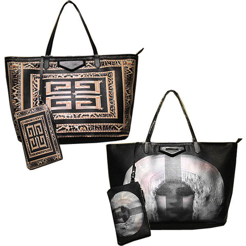 Printed Leather Tote Bag-Design G's