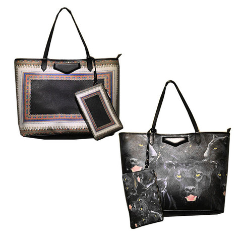 Printed Leather Tote Bag-Design Rotweilers