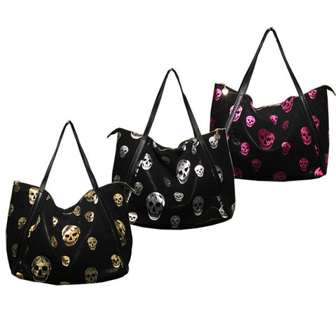 Printed Skulls Leather Tote Bag-Color Silver