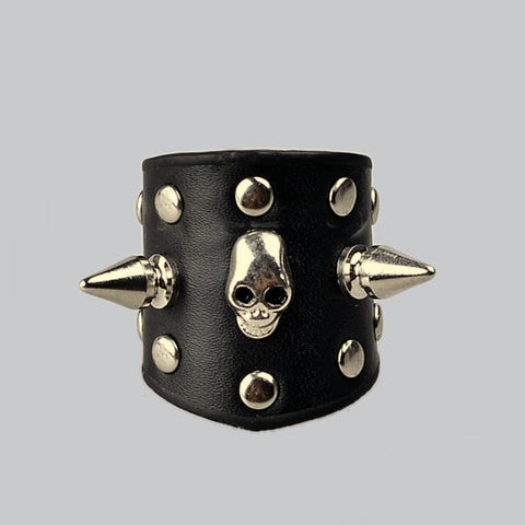 Spike Studded Wrist Band Leather Bracelet Skull Style Punkrock Rocker Apparel Punk Attire