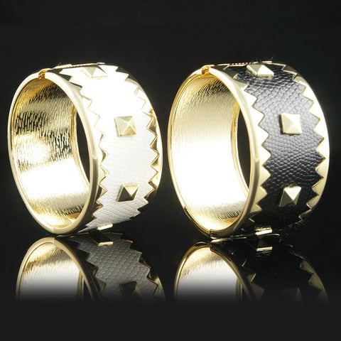 Gold Alloy Studded Leather Bracelet-Color White