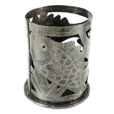 Metal Art Candle Holder Fish Design Handmade and Fair Trade