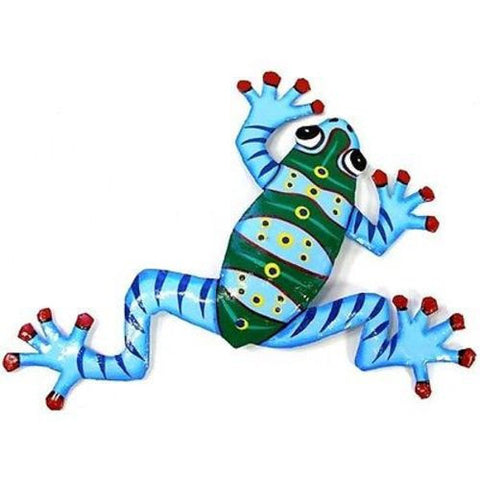 Ten Inch Metal Blue Frog Handmade and Fair Trade